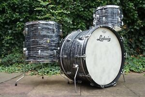 Vintage 1960s Ludwig 'Super Classic' Drum Kit in Black Oyster Pearl