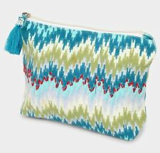 NEW BOHO PATTERN TEAL AND OLIVE GREEN FABRIC MAKEUP TASSEL CLUTCH BAG