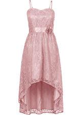 Elegantes Kleid mit Blüten Applikation in Rosa - Gr. 38 - Q486 - 910241