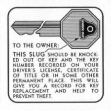Buick 1936-1958 Glove Box Door Key Instruction Decal