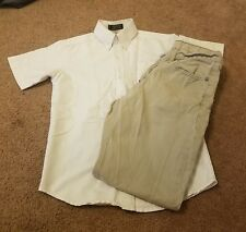 Boys 2 Piece Outfit, Pants And Button Down Shirt