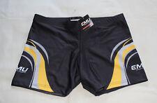 Emu Sportswear Girls Black Grey Yellow Printed Netball Sports Shorts Size 16 New