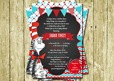 Dr Seuss Cat in the Hat Printed Baby Shower Invitations