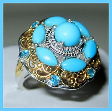 Sleeping Beauty Turquoise Neon Apatite 3.06 cts Diamond Ring 14K YG SS 925 sz 6