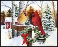 Christmas Cardinals -Chart Counted Cross Stitch Pattern Needlework Xstitch craft