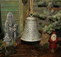 """Primitive Antique Vtg Style Med 6"""" Christmas Hanging Tin Metal Filigree Bell"""