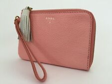 """New Ladies Fossil 'Tara' Small """"Coral"""" Pink Leather Slim Zipped Wristlet Purse"""