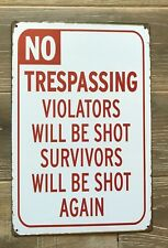 No Trespassing Sign American Style Vintage Tin Sign 30x20cm Metal - UK Stocked