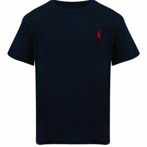 Genuine Ralph Lauren Polo Boys T shirt top Crew S/S Dark Blue Free UK P&P New