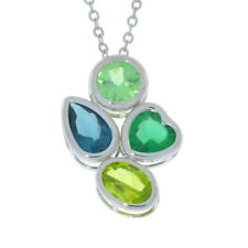 Green Sapphire London Blue Topaz Emerald & Peridot Pendant .925 Sterling Silver