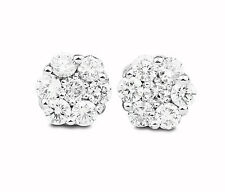 0.90 Ct Natural Round Cut VS2/F Diamond Cluster Stud Earring 14K With Screw Back