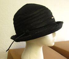 YNC women's straw church hat throwback ribbed cloche honeydipper cap w/ bow