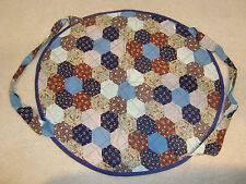"""Navy/Blue Floral Quilted Design 18.5x16.5"""" Oval Hand Made Casserole Carrier"""