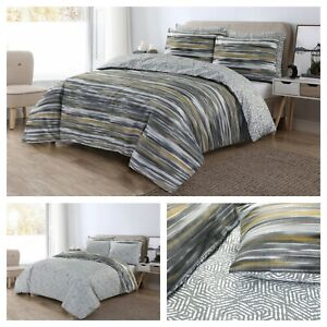 Luxury Stripe Print Duvet Cover 100% Cotton Reversible Bedding Set Quilt Covers