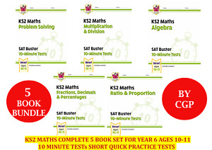 KS2 SAT BUSTER MATHS COMPLETE 5 BOOK SET BY CGP FOR AGES 10-11 YEAR 6 (5 BOOKS)