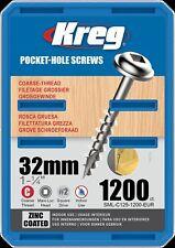 Kreg Pocket-Hole Screws – 32mm, #8 Coarse, Washer-Head, 1200ct SML-C125-1200-EUR