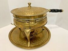 Antique Iranian Nader Embossed Brass Fondue Chafing Dish Pan Warmer Home Decor