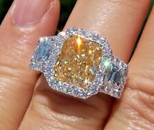 4.27 Ct Fancy Intense Yellow Cushion Cut Diamond Engagement Ring GIA Platinum