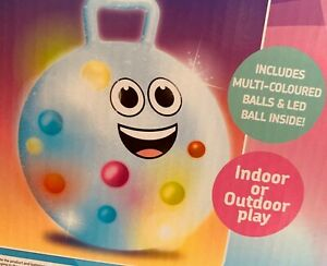 LIGHT UP SPACE HOPPER Jumping Ball 50cm INCLUDES MULTI COLORED BALLS & LED