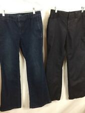 Lot 2 Ann Taylor Loft Size 8 P Modern Flare and Trouser 32x30 Blue and Black