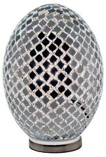 GIANT Mosaic Egg Lamp in MIRRORED Bedroom/Table Light