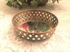 Rare Vintage Round Mirror Jewelry Tray Diamond Pattern Sides