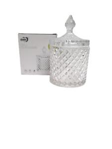17 Cm Large Crystal Glass Decorative Pot Jar With Lid Sugar Candy Serving Pot