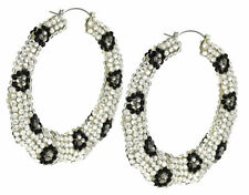 Pave Crystals 80mm Drop Leopard Sport Hoop Earring Clear