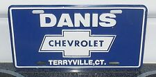 VINTAGE DANIS CHEVROLET BOW TIE License Plate TERRYVILLE CT.