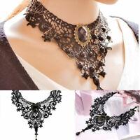 Mode Damen Halskette Gothic Halsband Armband Set Schwarz Choker-Spitze Best