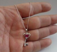 CURVY KEY NECKLACE PENDANT W/ .50 CT LAB RUBY / 925 STERLING SILVER /18'' CHAIN
