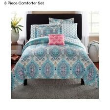 New 8 Piece Paisley King Size Comforter Set Modern Bedding Bedspread Comforters