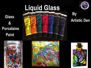Liquid Glass Paint  Porcelain Paint 7 x 15ml Tile Paint Stained Glass Paint **