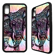 Elephant aztec tie dye tribal pattern rubber case cover for iphone X XS Max XR