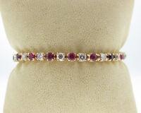 "Estate 6.35cts Genuine Diamonds Ruby Solid 14k Yellow Gold 6.5"" Tennis Bracelet"