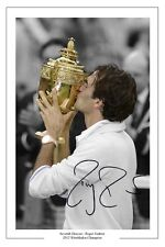 ROGER FEDERER 7 TIME CHAMPION WIMBLEDON 2012 TENNIS SIGNED AUTOGRAPH PRINT PHOTO