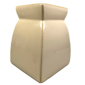 Square Flower Bouquet Vase Heavy Stoneware Ceramic Beige Curved To Cinched Neck