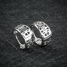 Women Men Stainless Steel Hollow Hoop Huggie Ear Stud Earrings Silver Jewelry