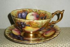 AYNSLEY HAND PAINTED ORCHARD FRUITS OUTSIDE INSIDE TEA CUP & SAUCER SIGN N BRUNT