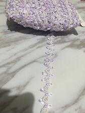 2cm Beautiful rococo ribbon DIY Craft bow trim Baby Purple&white  Per Meter