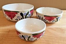Antique Set of 3 Bowls Imperiale et Royale Nimy Belgium Red Blue Floral