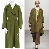 new KAREN WALKER AW13 Kristall green virgin wool belted trench coat US0 UK4 XS