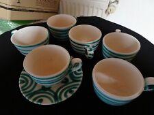 6 Stk. Gmundner Keramik Kaffeetassen nur 1  Unterteller grün geflammt gebraucht