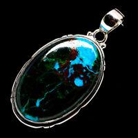 "Chrysocolla 925 Sterling Silver Pendant 2"" Ana Co Jewelry P715674F"