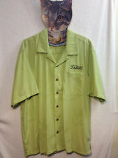 Port Authority DeWils Men's Lime Green Hawaiian Floral Button Front Shirt  L