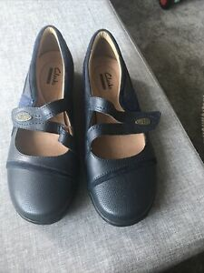 Clarks UK Size 5 Dark Blue Shoes, Never Worn