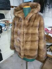 giacca visone demy buff,manica 3/4,collo cappuccio con bottone tg 44