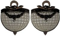 Pair Half Round Antique Patina Replica Crystal Basket French Empire Wall Sconces