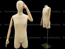 Male Linen Body Form Male Hard Dress Form with arms and head. #Jf-M2Larm+Bs-05