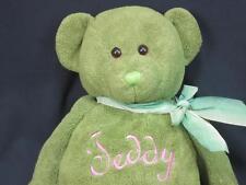 MTY INTERNATIONAL GREEN TEDDY BEAR PINK EMBROIDERY PLUSH STUFFED ANIMAL ANIMAL